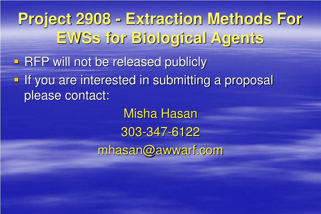 Project 2908 - Extraction Methods For EWSs for Biological Agents
