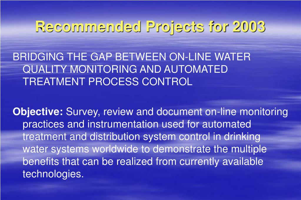 Recommended Projects for 2003