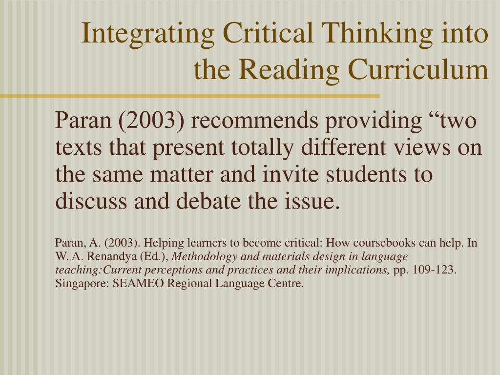Integrating Critical Thinking into the Reading Curriculum