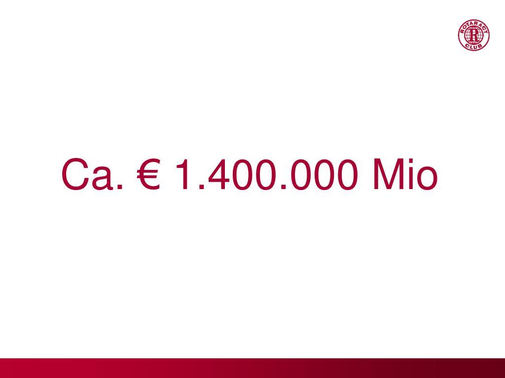 Ca. € 1.400.000 Mio