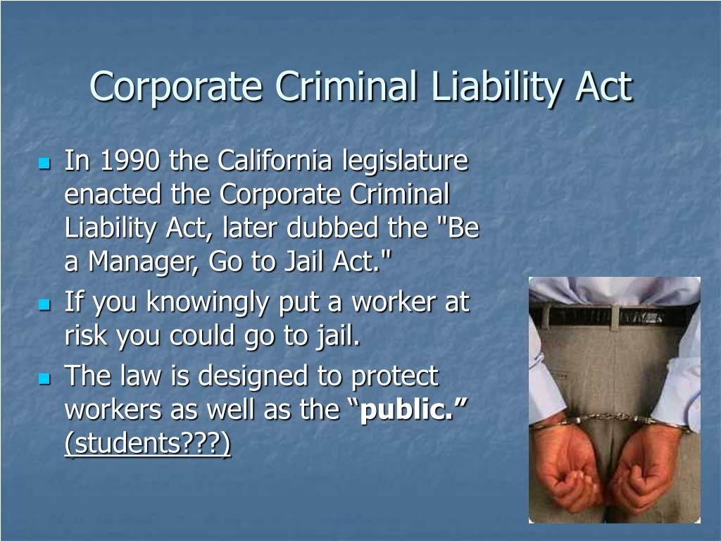 Corporate Criminal Liability Act