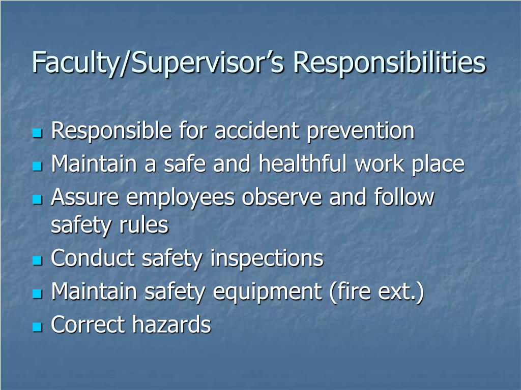 Faculty/Supervisor's Responsibilities