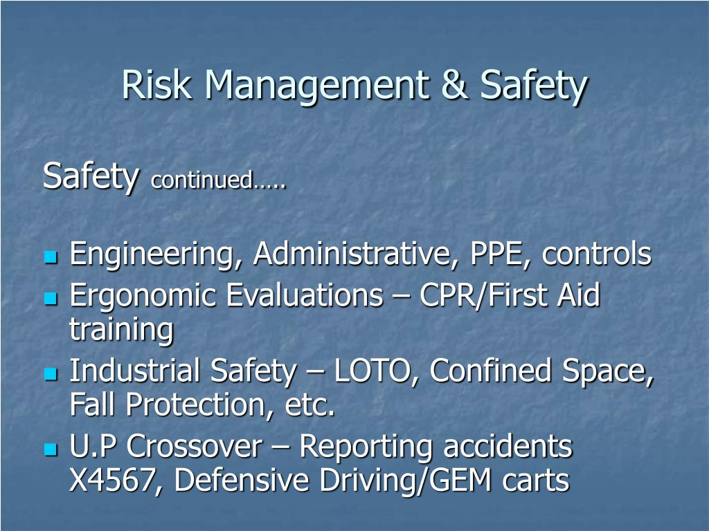 Risk Management & Safety