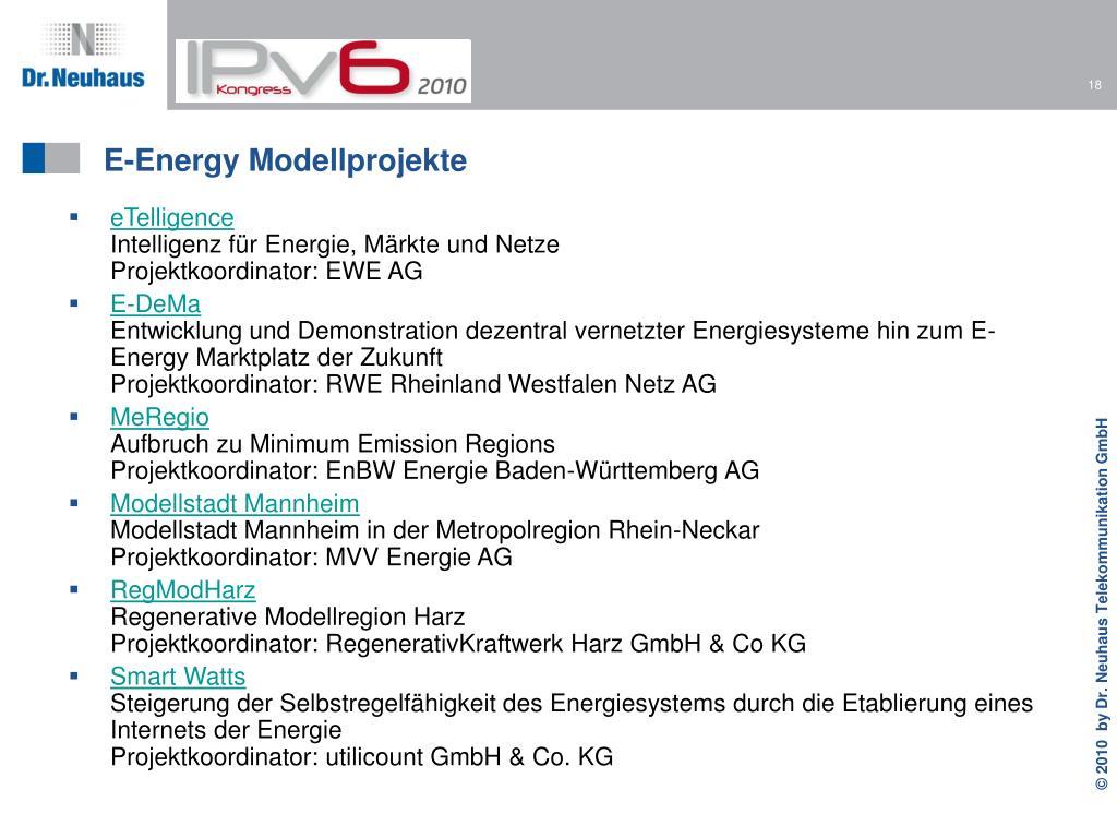 E-Energy Modellprojekte