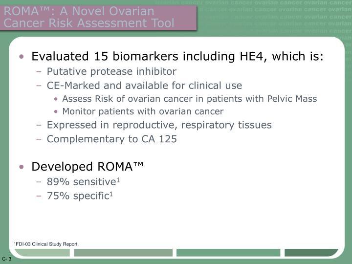 Roma a novel ovarian cancer risk assessment tool
