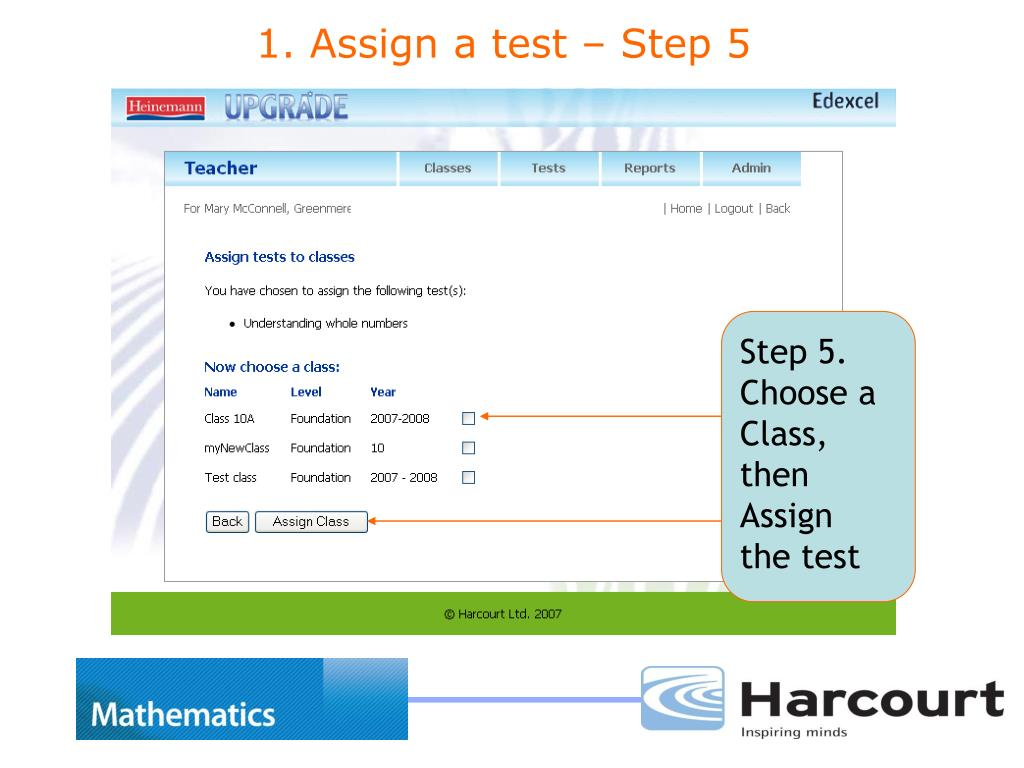Step 5. Choose a Class, then Assign the test
