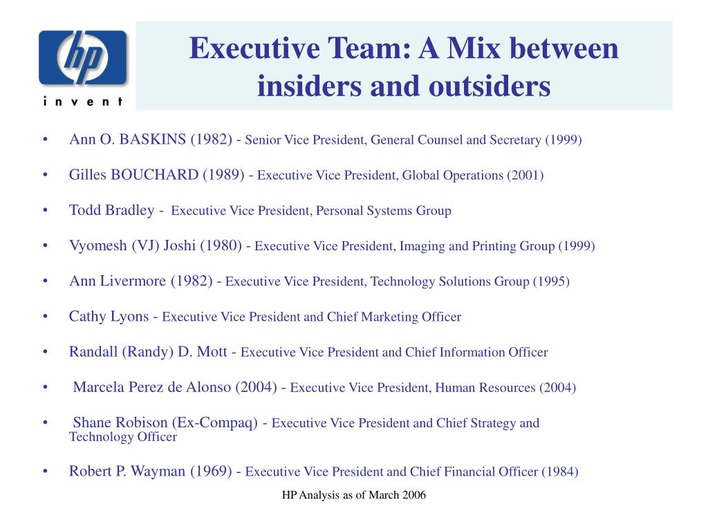 Executive Team: A Mix between insiders and outsiders