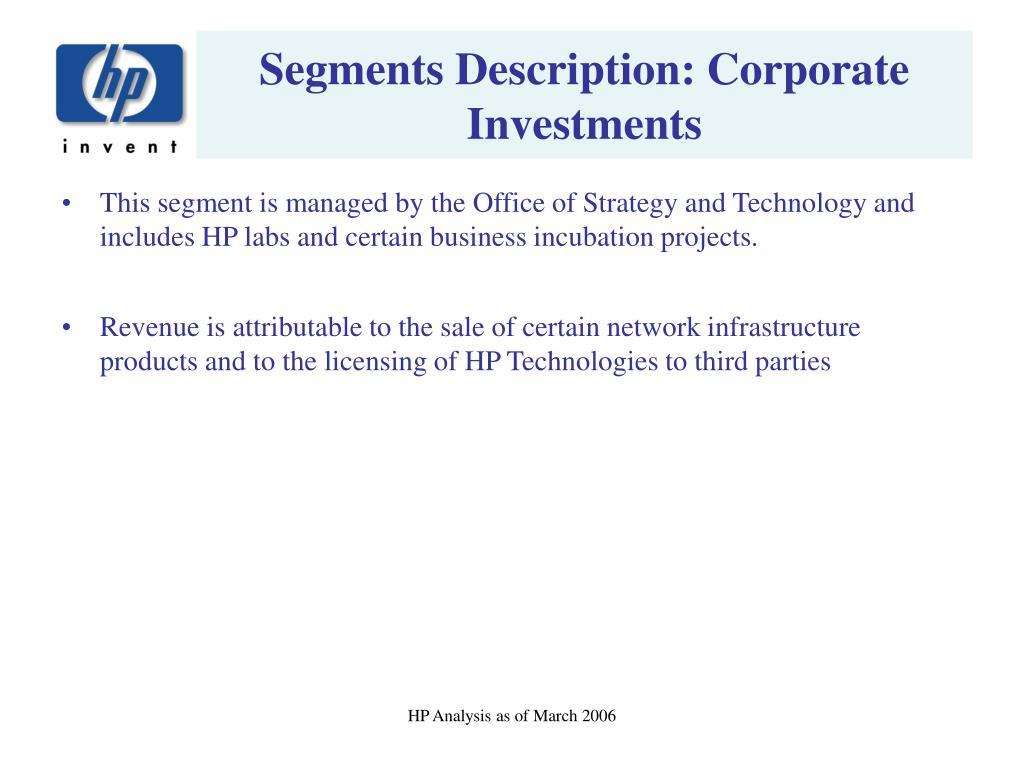 Segments Description: Corporate Investments