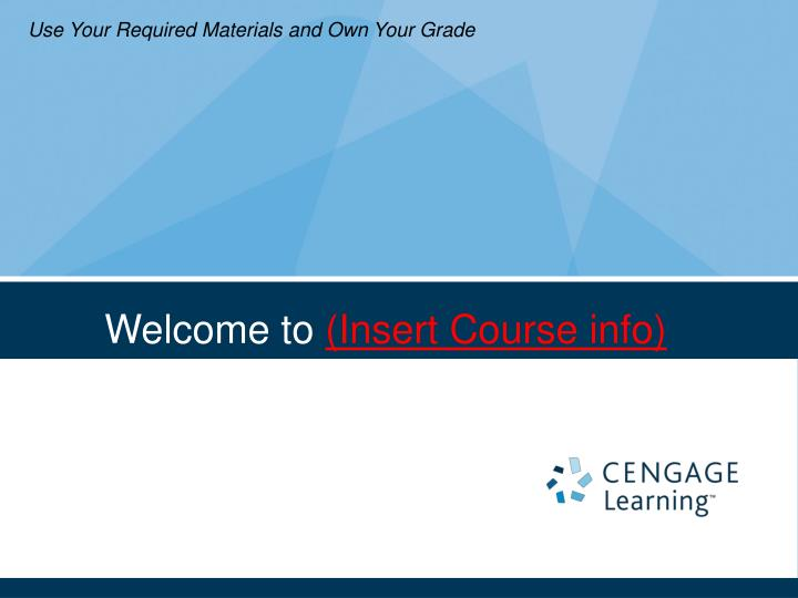 Welcome to insert course info