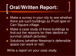 oral written report