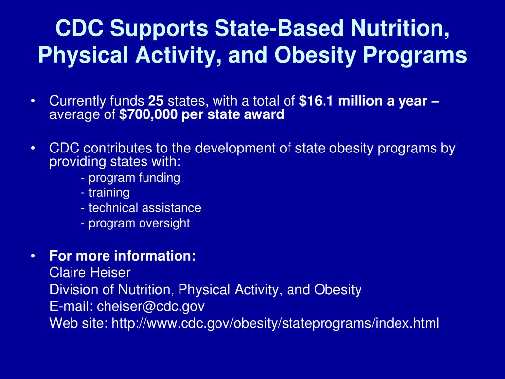 CDC Supports State-Based Nutrition, Physical Activity, and Obesity Programs