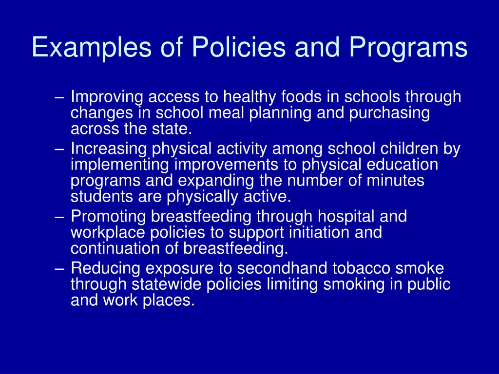 Examples of Policies and Programs