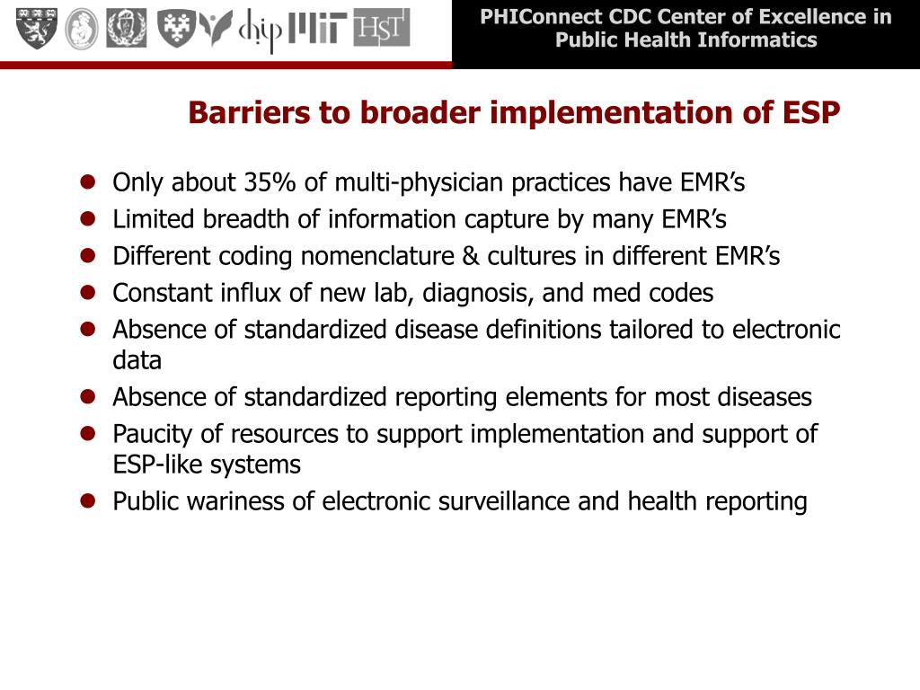Barriers to broader implementation of ESP