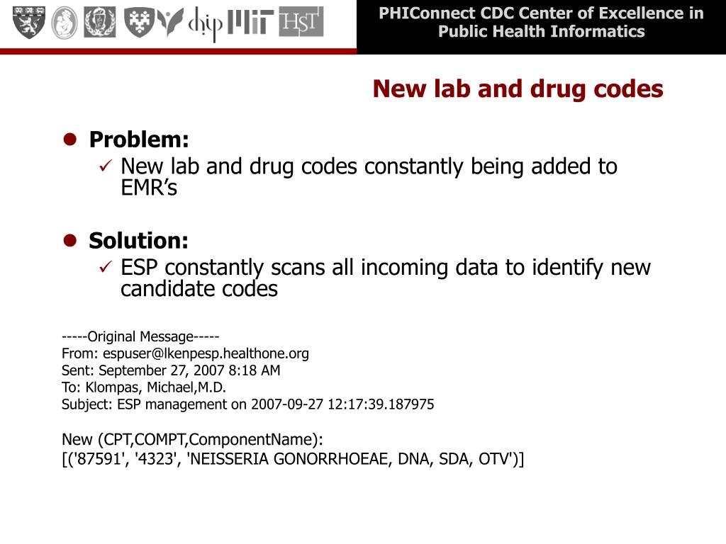 New lab and drug codes