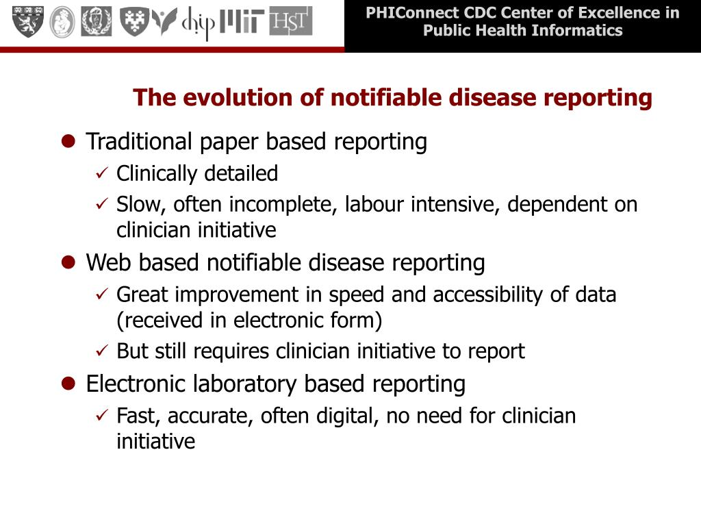 The evolution of notifiable disease reporting