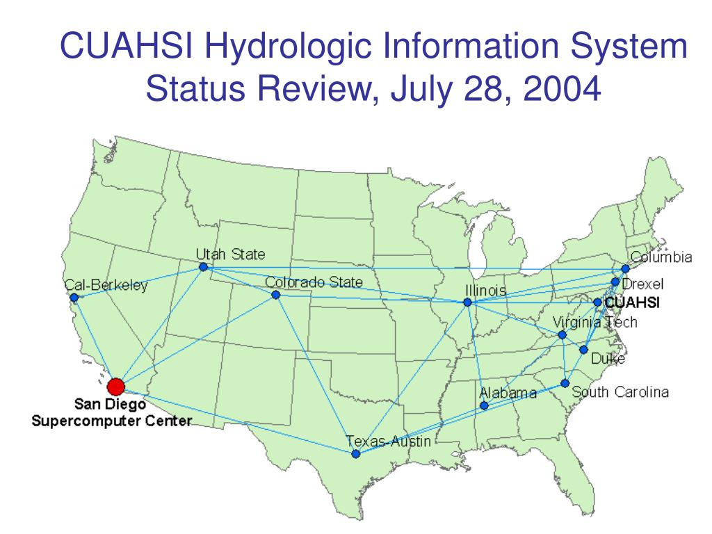 cuahsi hydrologic information system status review july 28 2004