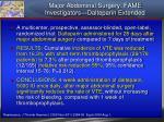 major abdominal surgery fame investigators dalteparin extended