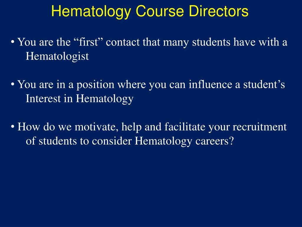 Hematology Course Directors