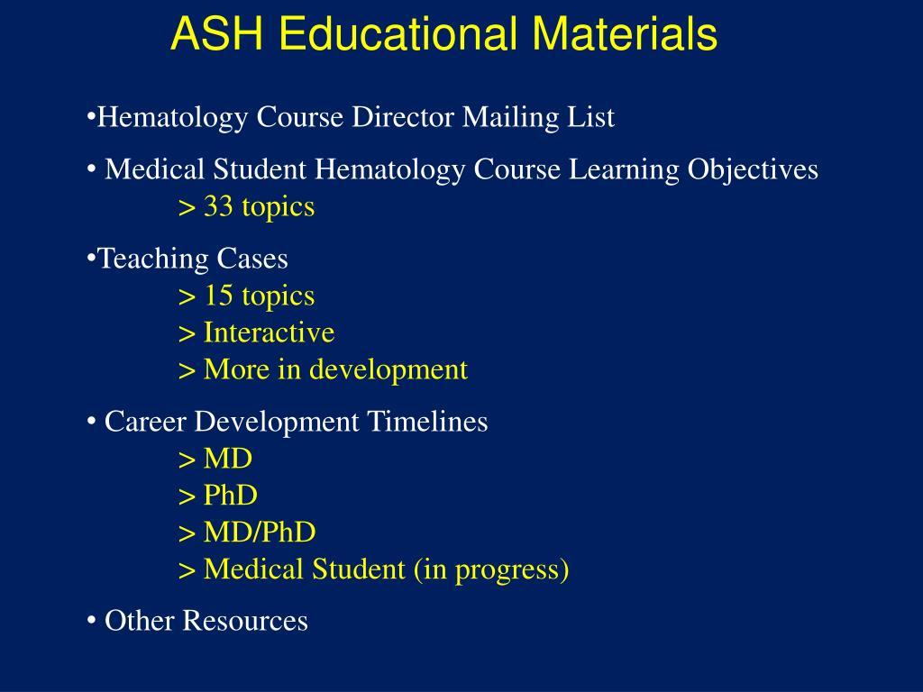 ASH Educational Materials