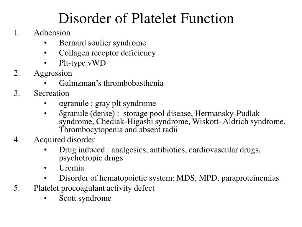 Disorder of Platelet Function