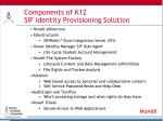 components of k12 sif identity provisioning solution