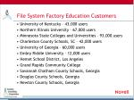 file system factory education customers