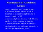 management of alzheimers disease