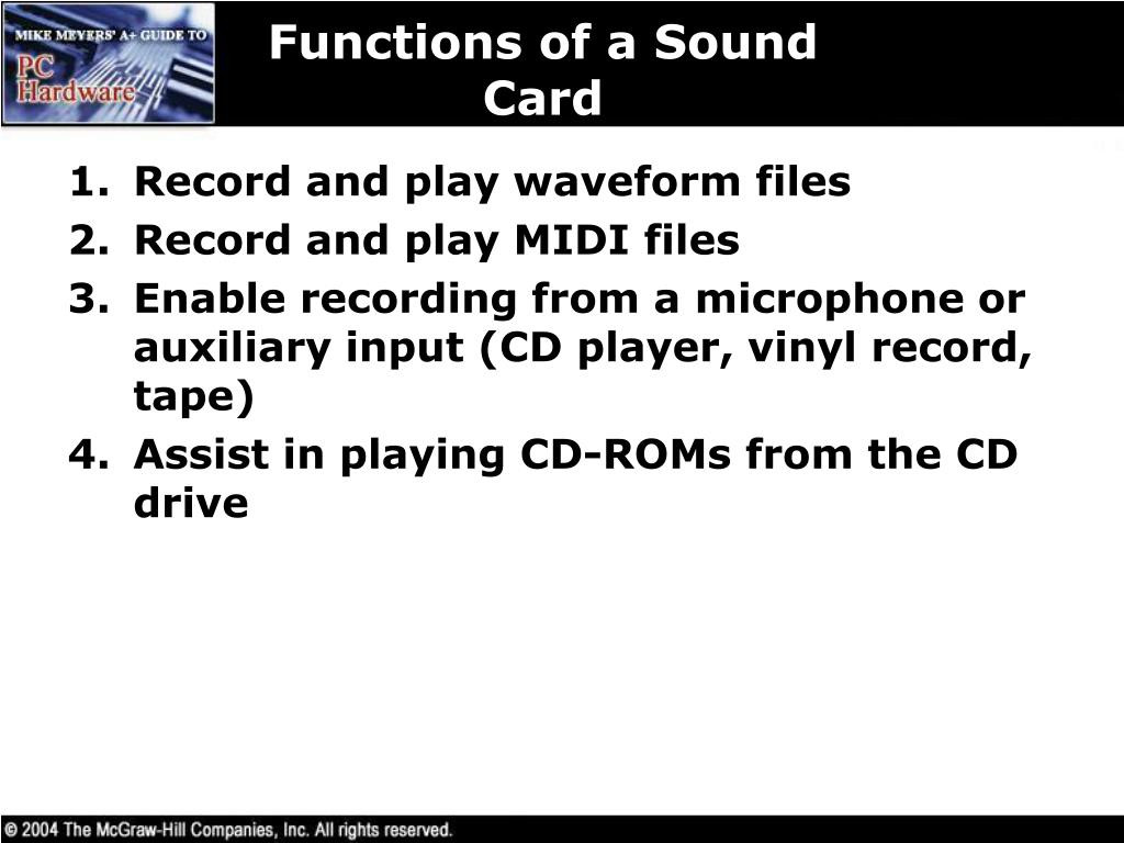 Functions of a Sound Card