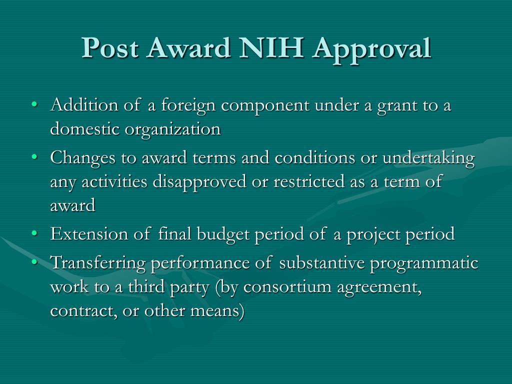 Post Award NIH Approval