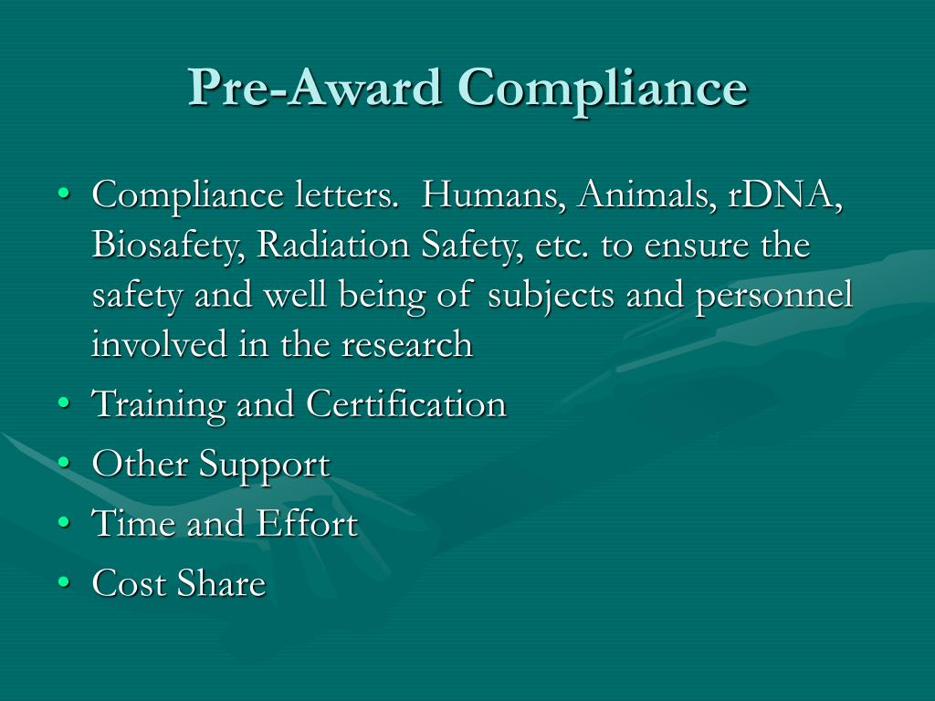 Pre-Award Compliance
