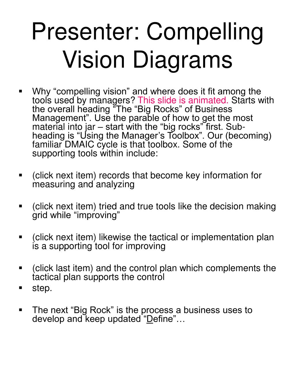 """Why """"compelling vision"""" and where does it fit among the tools used by managers?"""