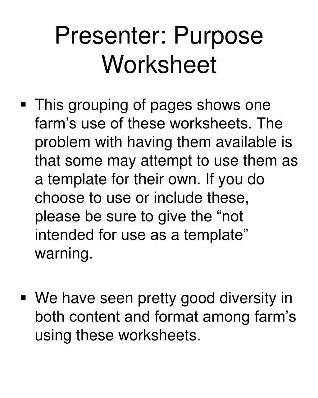 Presenter: Purpose Worksheet