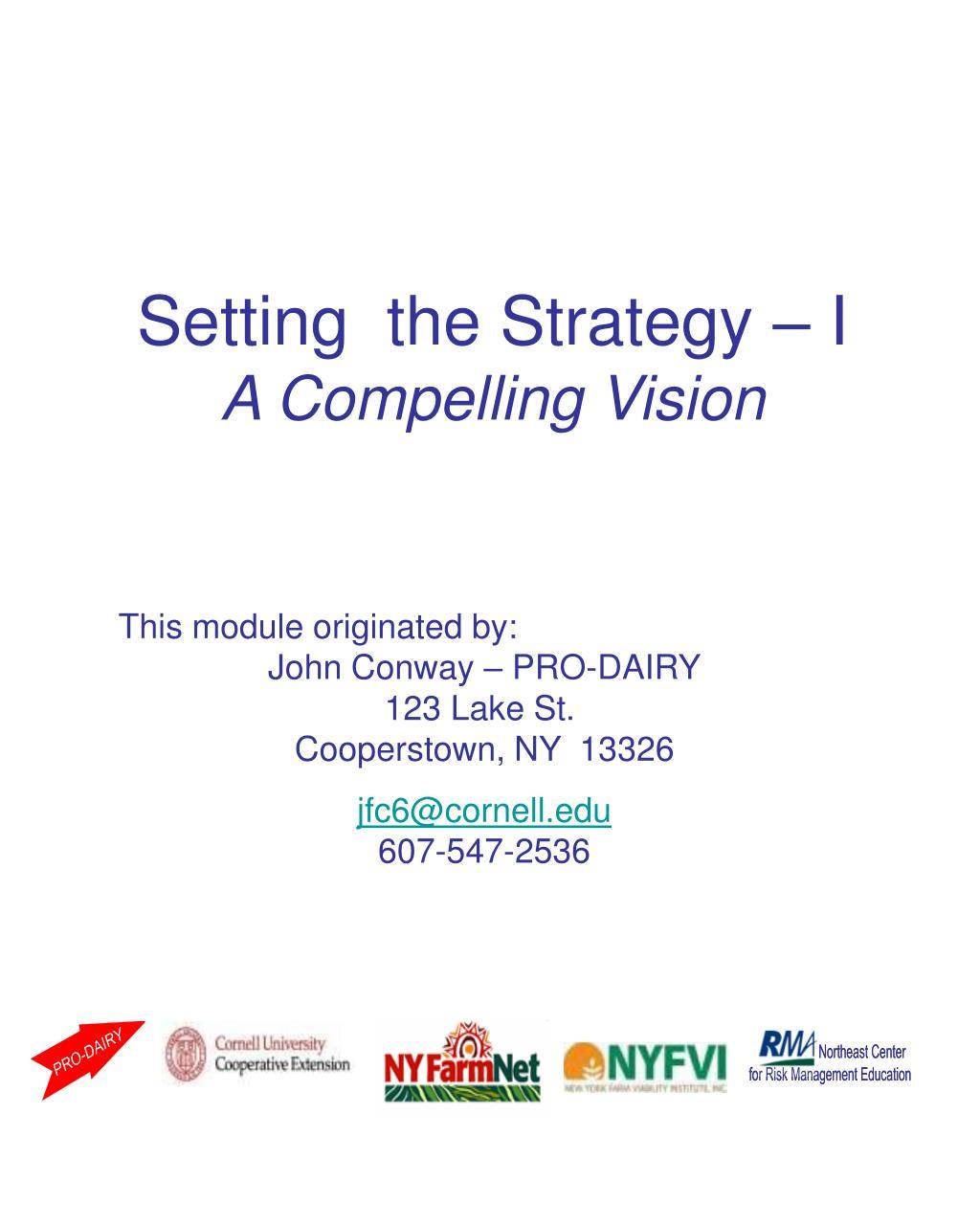 Setting  the Strategy – I