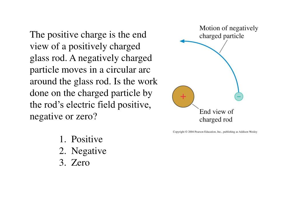 The positive charge is the end view of a positively charged glass rod. A negatively charged particle moves in a circular arc around the glass rod. Is the work done on the charged particle by the rod's electric field positive, negative or zero?