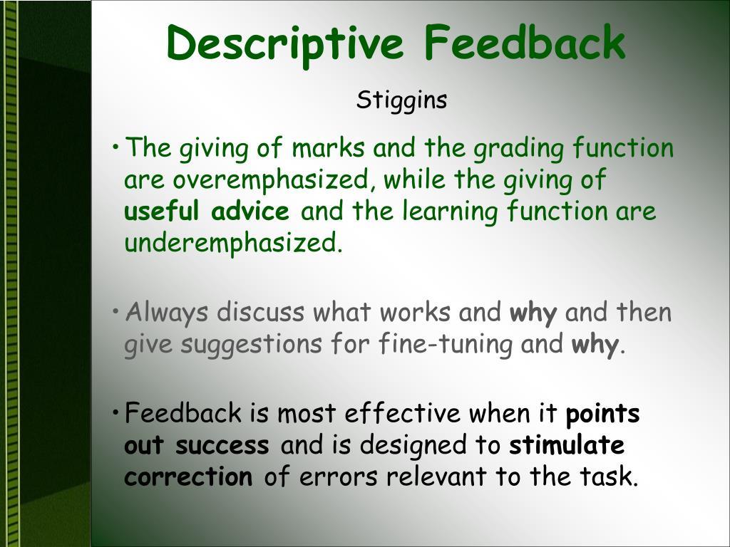Descriptive Feedback