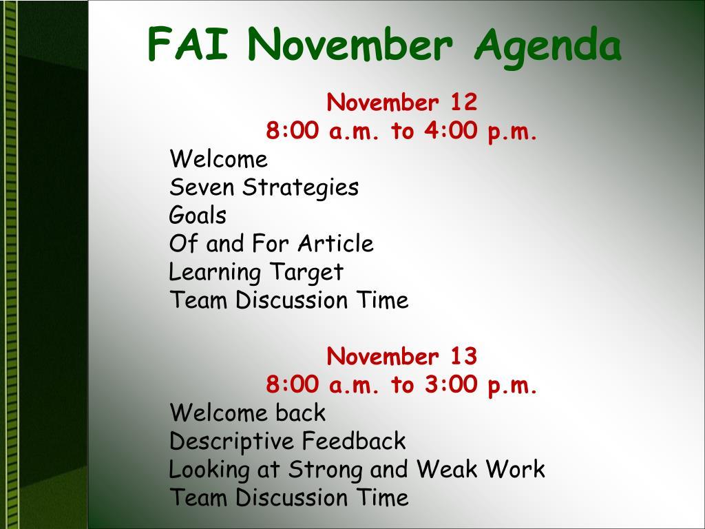 FAI November Agenda