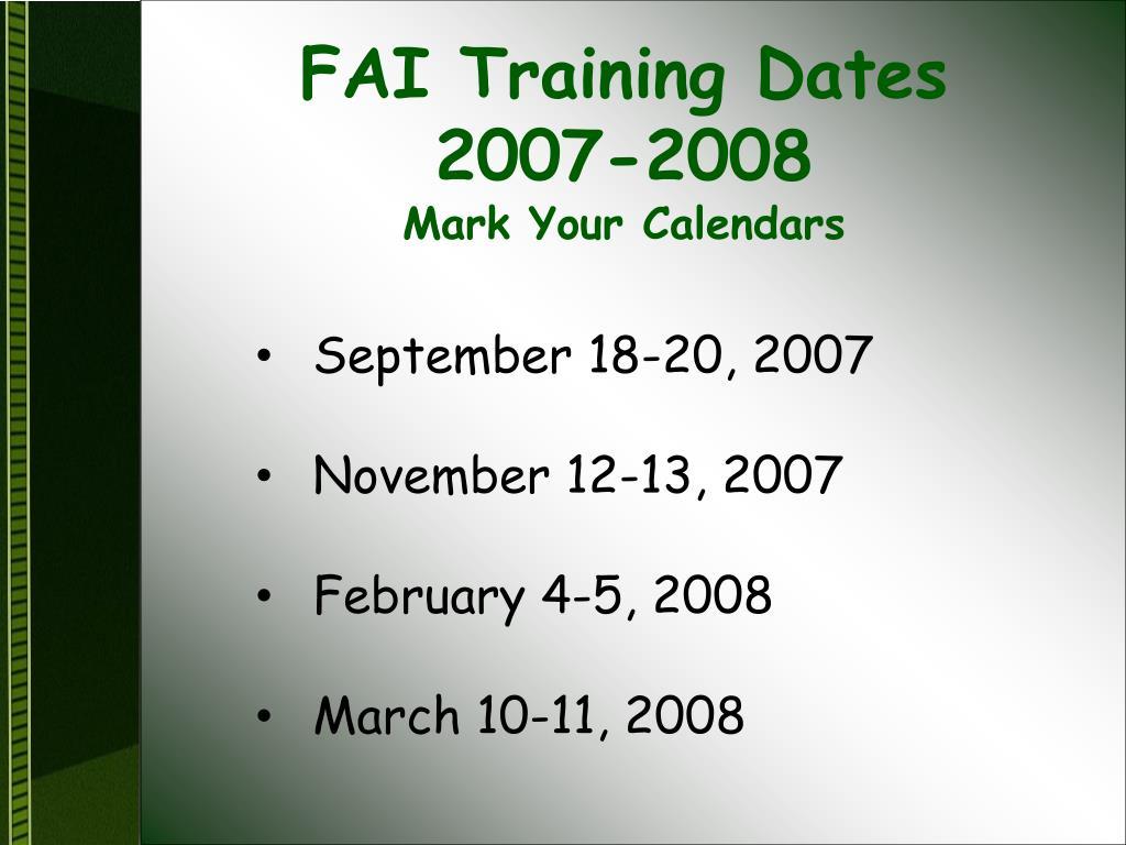 FAI Training Dates