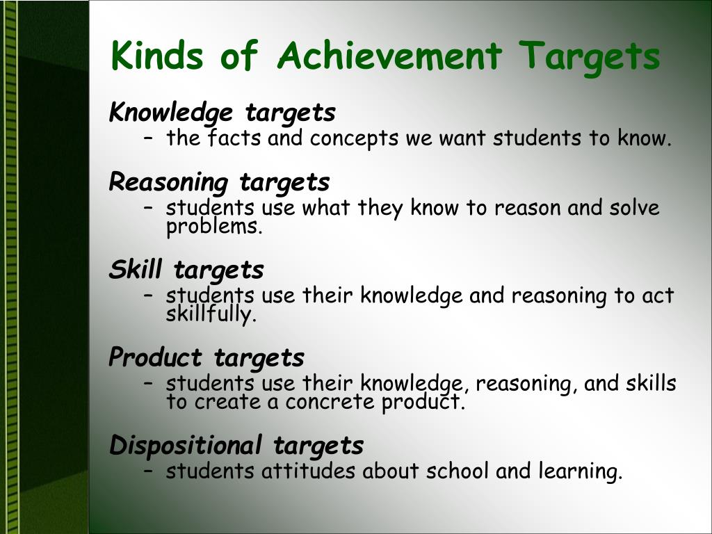 Kinds of Achievement Targets