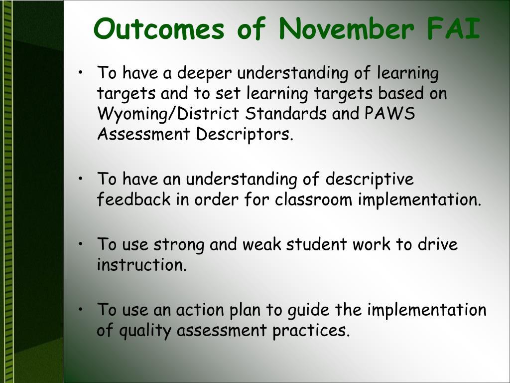 Outcomes of November FAI