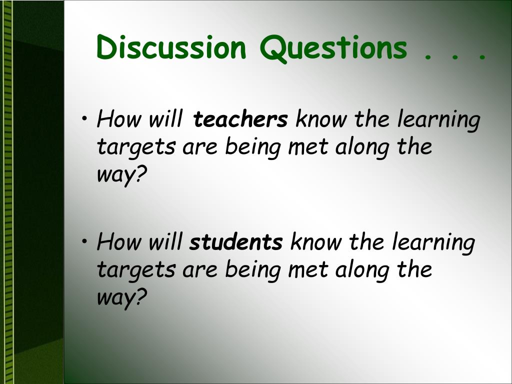 Discussion Questions . . .