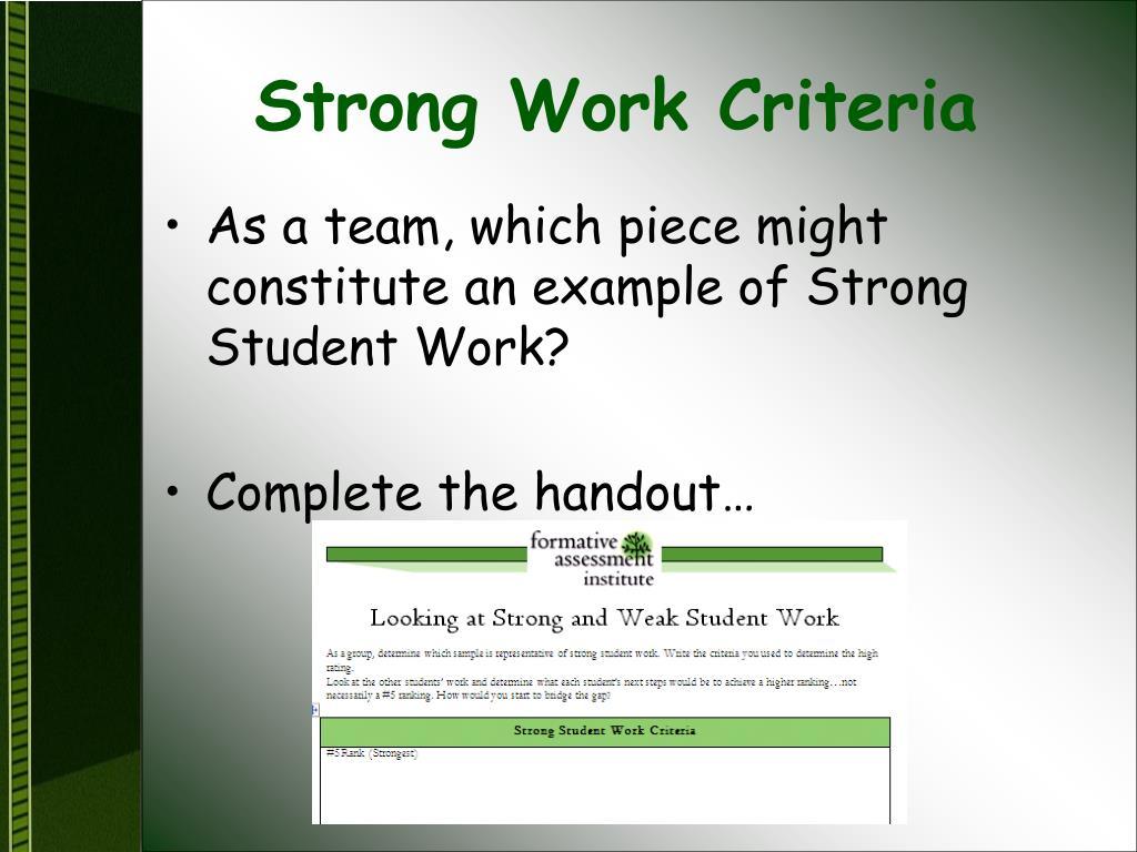 Strong Work Criteria