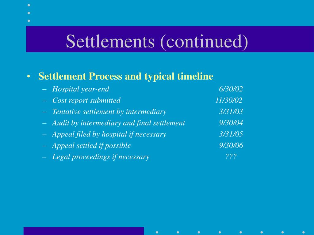 Settlements (continued)