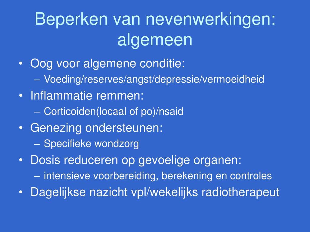 Beperken van nevenwerkingen: algemeen