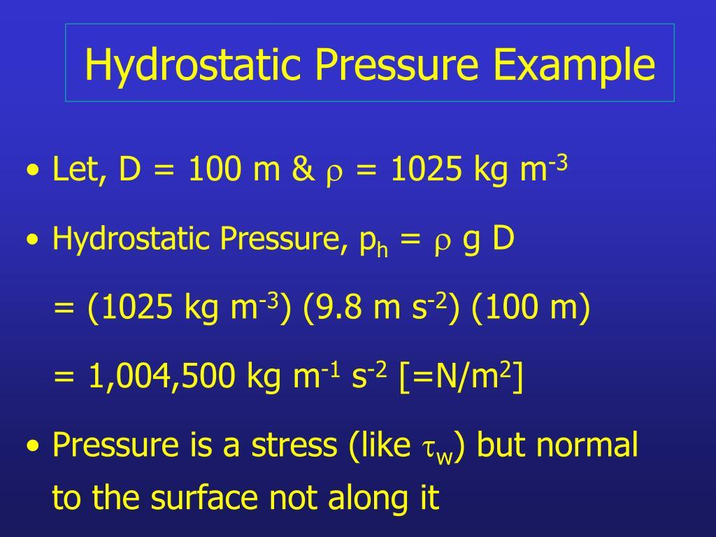 Hydrostatic Pressure Example
