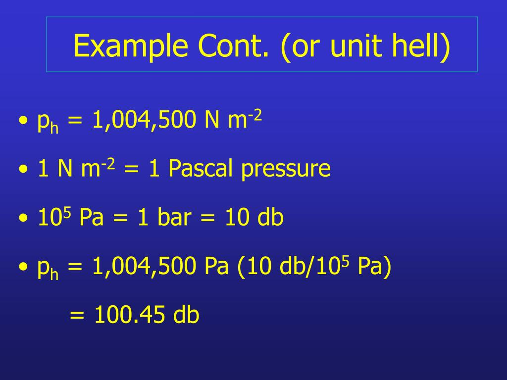 Example Cont. (or unit hell)