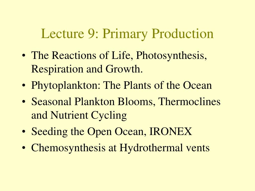 Lecture 9: Primary Production