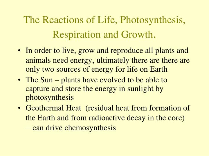 The reactions of life photosynthesis respiration and growth