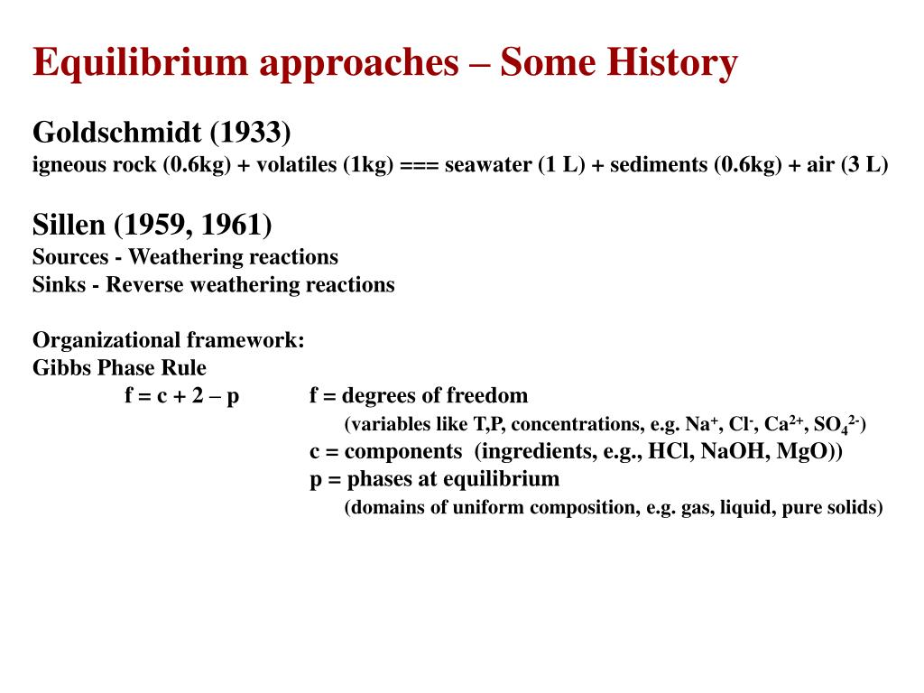 Equilibrium approaches – Some History