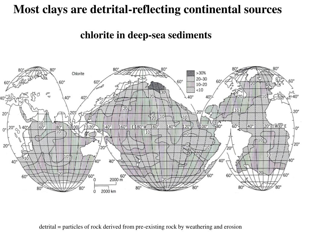 Most clays are detrital-reflecting continental sources