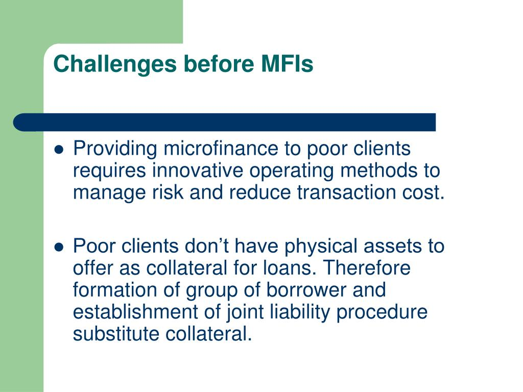Challenges before MFIs